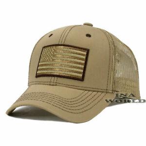 USA-AMERICAN-Flag-Hat-Tactical-Operator-Mesh-Snapback-Baseball-Cap-Khaki-Beige