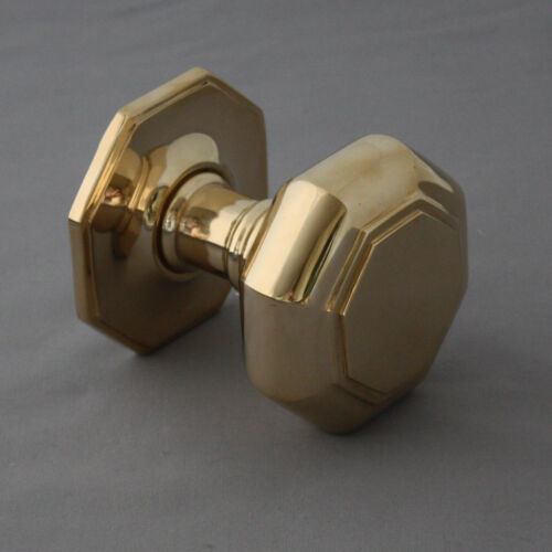 Large Georgian Brass Octagonal Door Pull