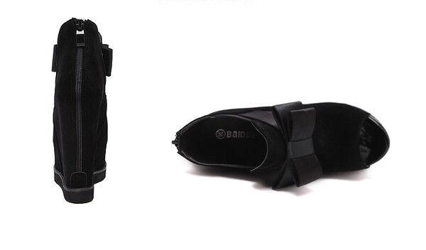 Sandales Damens's Stiefel wedge platform schwarz heel 14 cm Leder zip like Leder cm CW752 b4e5f5