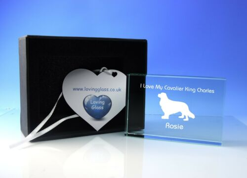 Cavalier King Charles Dog Paperweight Ornament Personalised Glass Dog Lover Gift