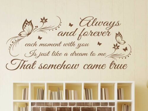 ALWAYS AND FOREVER Quote,Vinyl Wall Art Sticker Decal,Mural,lyrics i19 HEATWAVE