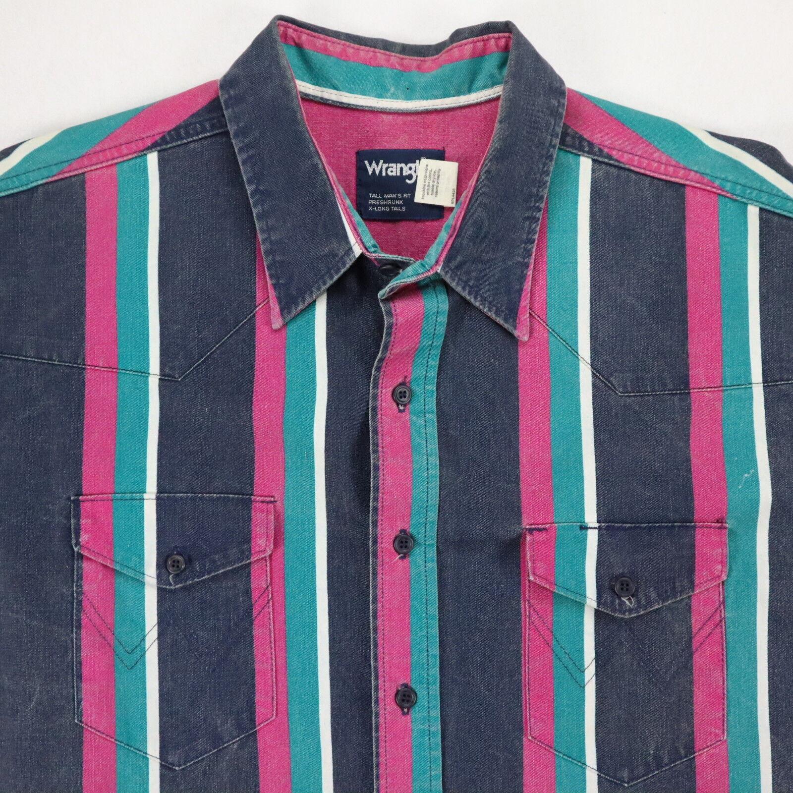 Vtg Wrangler Western Denim Shirt Mens size 2XLT Tall Striped Nicely Faded Cowboy