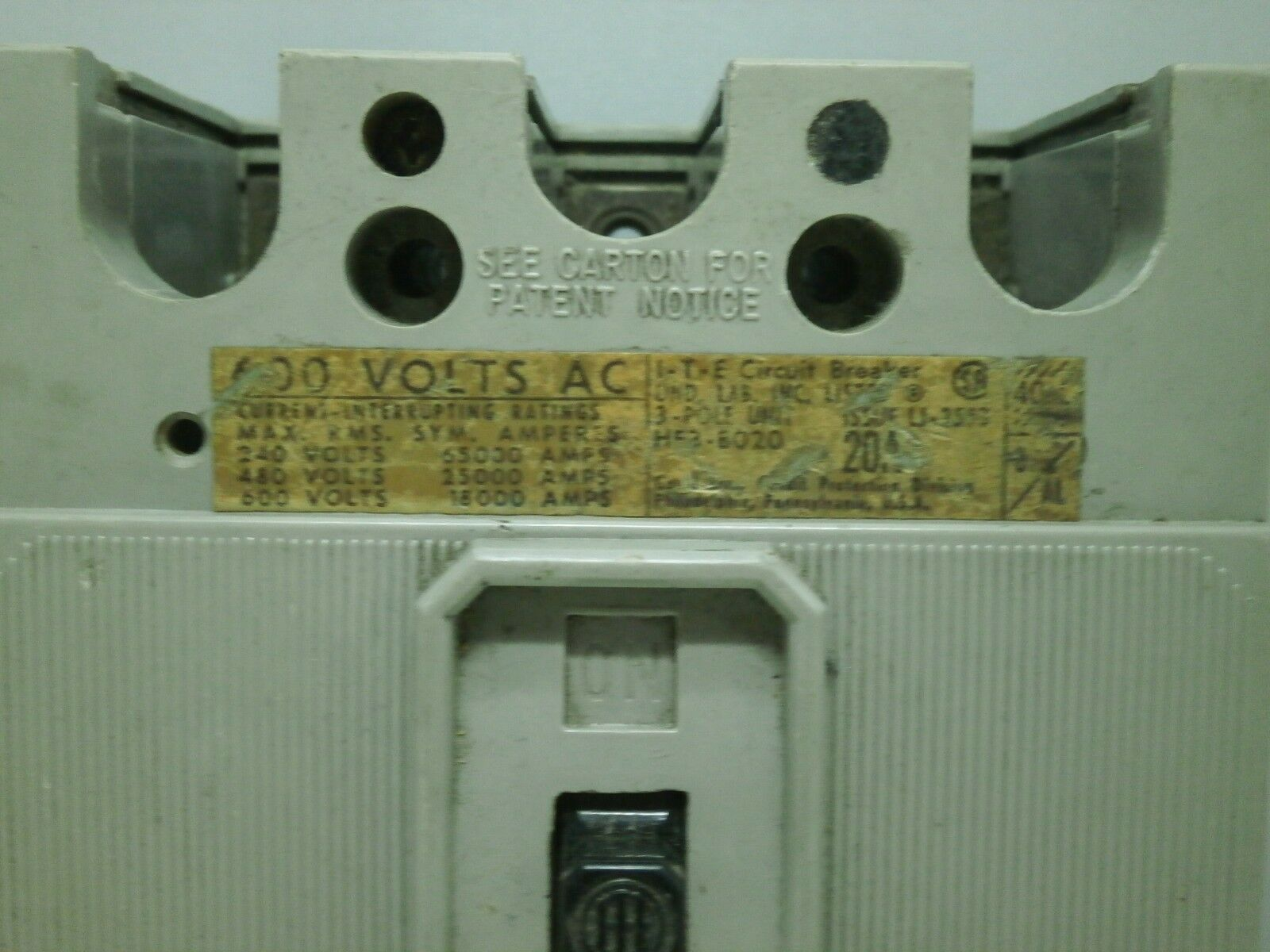 He3 B020 Ite 3 Pole 600 Volt 20 Amp Circuit Breaker Tested Ebay Used Breakers E43b060 60