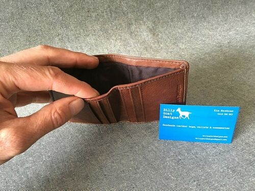 Leather Wallet Bifold W2K Buffalo Slim Cash Cards Handmade Billy Goat Designs