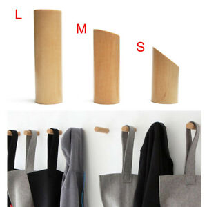 Bathroom Fixtures Natural Wood Clothes Hanger Wall Mounted Coat Hook Decorative Key Holder Hat Scarf Handbag Storage Hanger Bathroom Rack Hooks