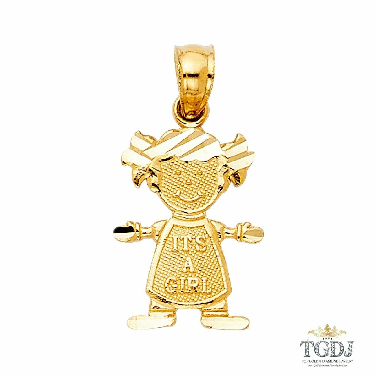Girl Pendant 14K Yellow gold, Height 17 MM Width 10 MM