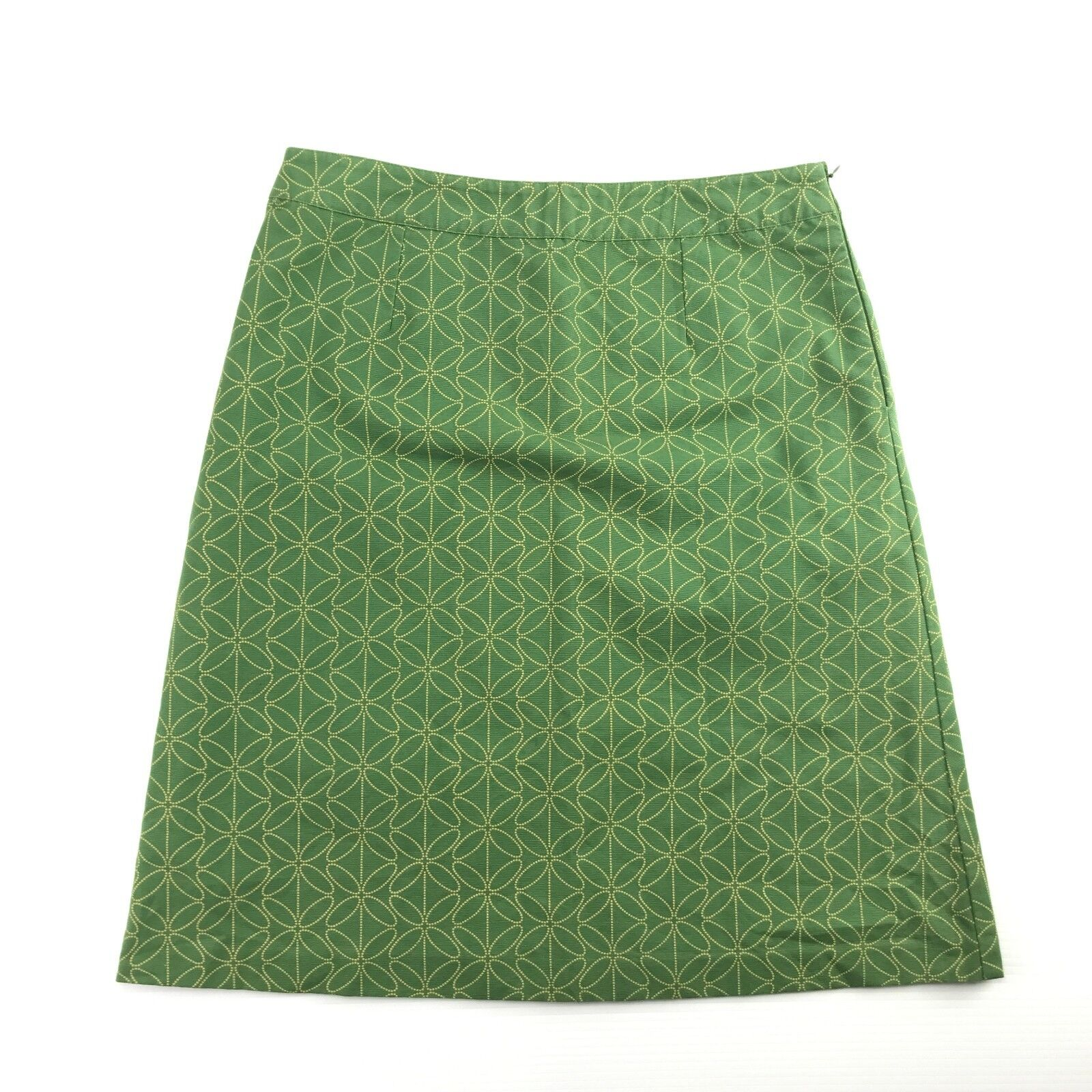 Boden Womens Green Geometric Print Cotton Lined A Line Career Skirt 12R