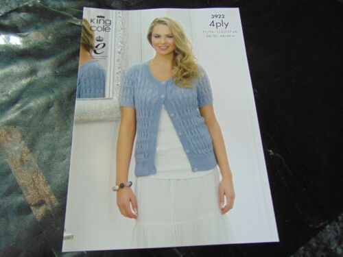 KING COLE 4 Ply Knitting Pattern 3922 Waistcoat and Cardigan