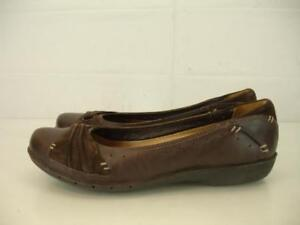 Womens-7-M-Clarks-Unstructured-Un-Signal-Brown-Leather-Comfort-Shoes-Loafer-Flat