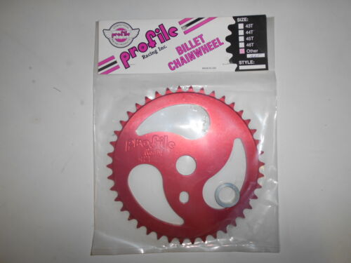 NOS Profile RIPSAW  42 T Sprocket RED Anodized BMX Chainwheel Mid School Billet