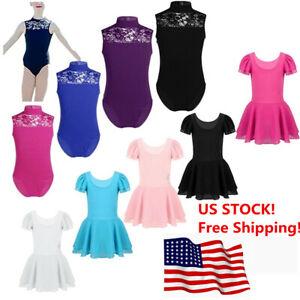 US-Girls-Ballet-Dress-Gymnastics-Leotard-Pleated-Tutu-Skirt-Lace-Dance-Costume