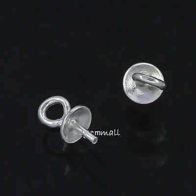 12 Sterling Silver Eye Pin Pendant Charm Connector Bail w/ 3mm Pearl Cup #51767