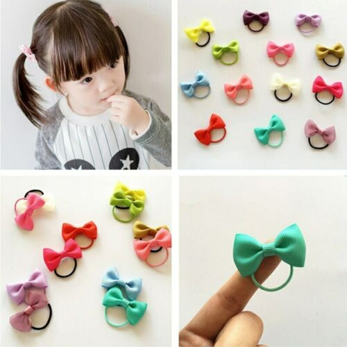 10Pcs//Lot Colorful Baby Girl Elastic Hair Band Ribbon Hair Bows Kids Hair Rope