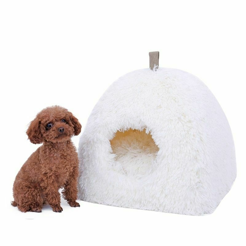 Pet House Soft Plush Dog Bed Cozy Cushion Nesting Kennel For Cats Small Dog