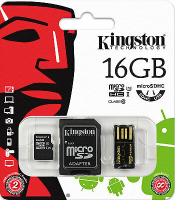 3-IN-1 KINGSTON 16GB MICRO SD SDHC MEMORY CARD UHS-1 CLASS 10 WITH USB ADAPTER