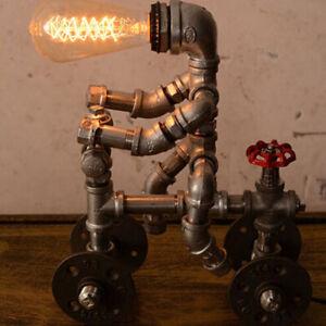 Industrail-Plumbing-Pipe-Deco-Desk-Light-Retro-Rustic-Robot-Plug-in-Table-Lamp