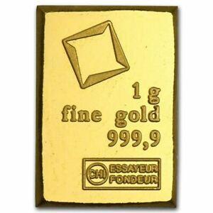 1 Gram Fine Gold Bar 9999 Pure Fine Bullion Swiss Valcambi From Sheet