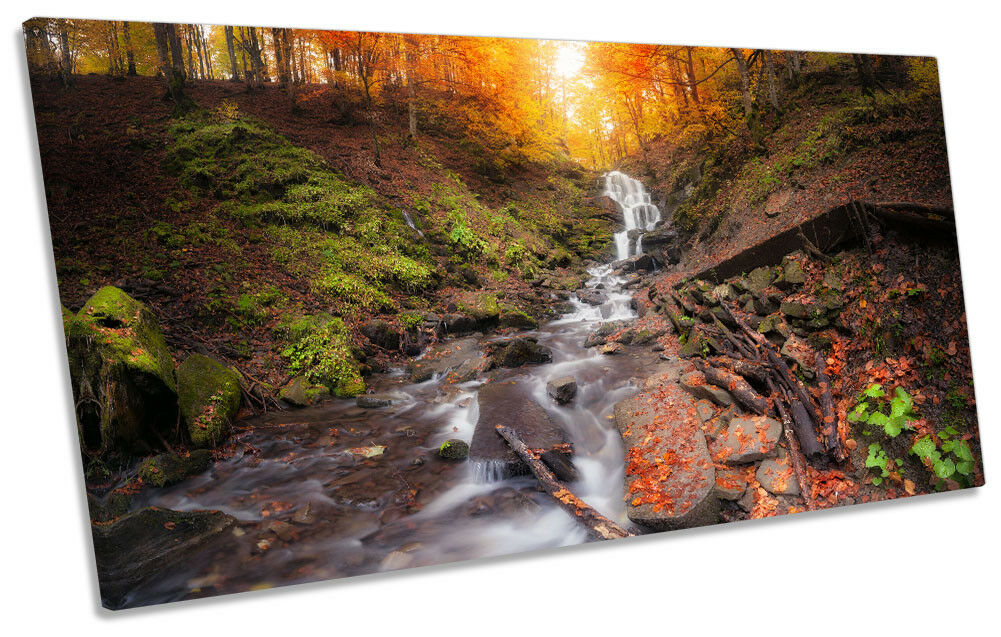 Orange Landscape Waterfall Bild PANORAMIC CANVAS Wand Kunst Drucken