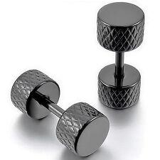 MENDINO Men's 316L Stainless Steel Stud Earrings Mini Dumbbell Hoop Huggie Black