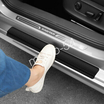 SUVBUSI 4Pcs Car Kick Plates Carbon Fiber Door Sill For TYPE R All Models Carbon Fiber Leather Styling Sticker Accessories Anti Scratch Scuff Protector Strips Tape Threshold Cover Trim