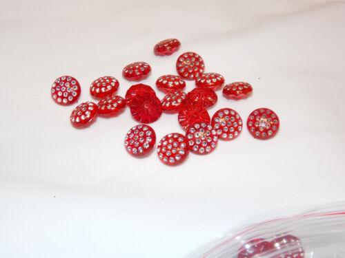 Rouge 13 mm fantaisie en plastique cristal Shamballa Bouton Robe Manteau Chemise SEW ON GEM