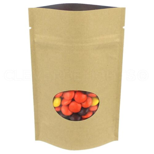 Kraft Window Stand-Up Barrier Pouches Resealable Ziplock Bags Packaging