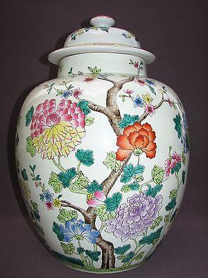 "Large 17"" Vintage Chinese Ceramic Peony Flower Baluster Ginger Temple Jar Urn"