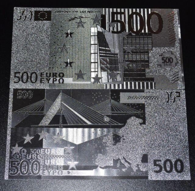 500 Euro Banknote Geldschein in Silber Silberfolie Originalgröße neu Silbergeld