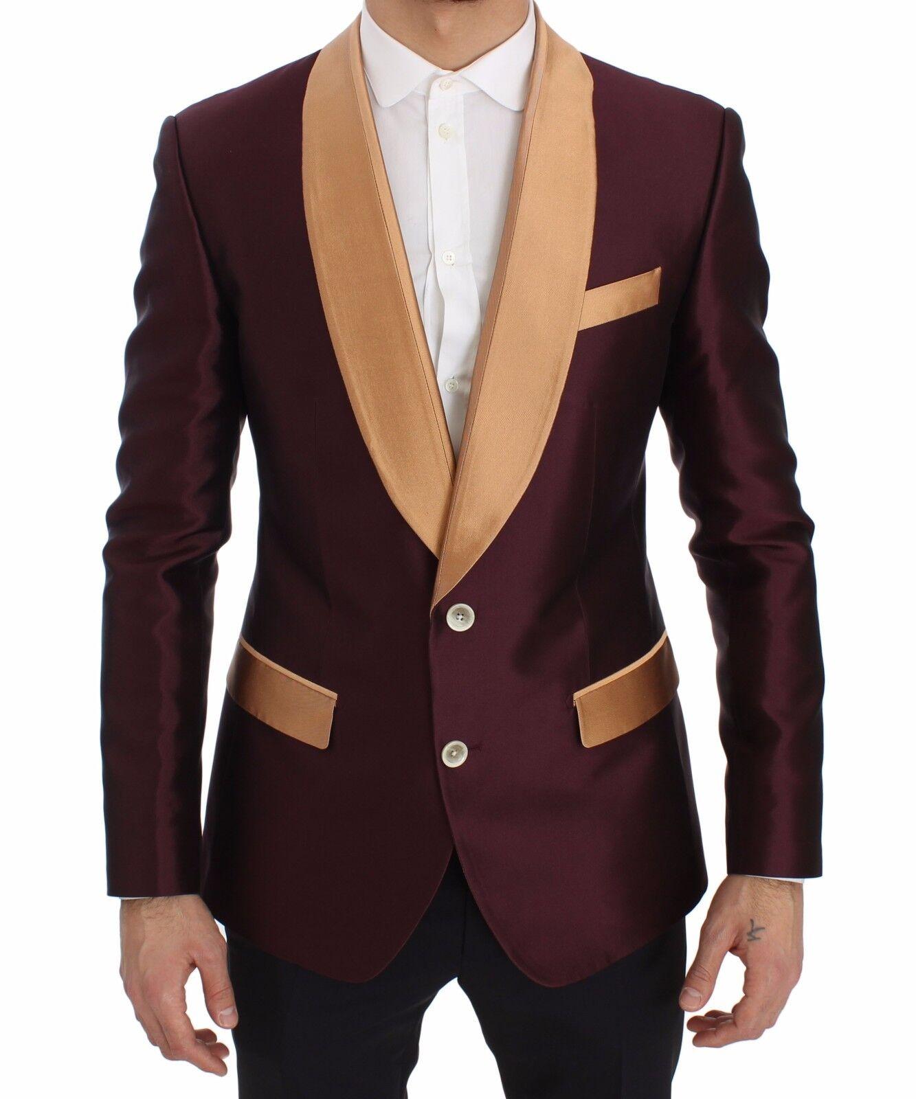 Nuevo Dolce & Gabbana Chaqueta Americana Burdeo Beis Seda Entallado IT50 /