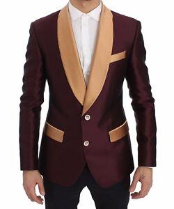 c350ecfab6 NEW  2600 DOLCE   GABBANA Blazer Jacket Bordeaux Beige Silk Slim ...