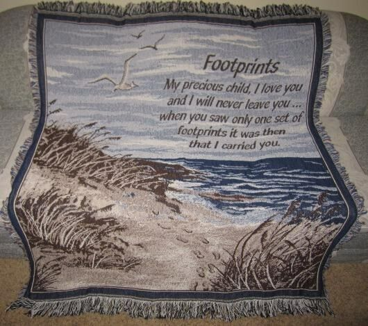New Religious Spiritual Holy Poem Cotton Afghan Woven Throw Blanket Footprints