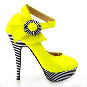 New Yellow Flower Ankle Strap Stripe Platform EVE Pumps Au Size 4/5/6/7/8/9/9.<wbr/>5