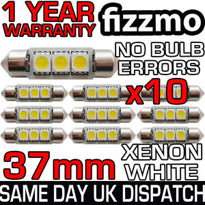 10x 37mm NUMBER PLATE INTERIOR 6000k BRIGHT WHITE 3 SMD LED C5W CANBUS 12v BULB