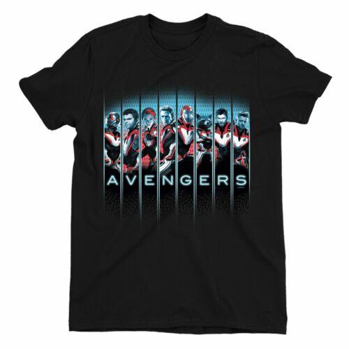 Avengers Endgame Character Line Up Children/'s Unisex Black T-Shirt