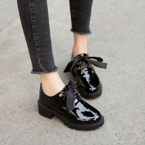 Women-Flat-Med-Heel-Shoes-Patent-Leather-Brouge-Lace-up-Oxfords-Shoes-Pumps-Size