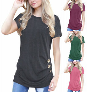 Women-Short-Sleeve-Casual-Loose-Tops-T-Shirt-Button-Trim-Blouse-Pullover-2018