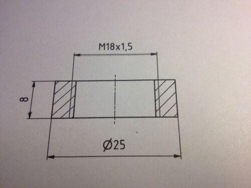 Edelstahl M18x1.5 Gewindemuffe Einschweissgewinde VA Mutter Lambdasonde