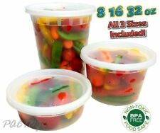 8 16 32 oz CPlastic Soup/Food Containers w/Lids Combo 24/EACH 100% BPA Free