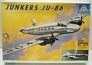 NEW ITALERI JUNKERS JU-86 LUFTHANSA / SWISS AIR MODEL KIT 1/72 SCALE SEALED 029