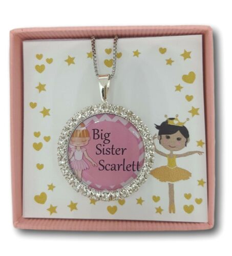 Personalised girls necklace xmas big little sister best friend gift present