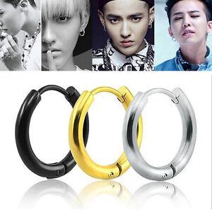 Mens-Womens-Silver-Jewelry-Stainless-Steel-Tube-Hoop-Ear-Ring-Stud-Earrings-Punk