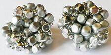 boucles d'oreille clips bijou rétro perle synthétique couleur argent et gris 137