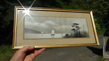 ANTIQUE 19C JAPANESE WATERCOLOR PAINTING ON PAPER LANDSCAPE WITH FUJI MOUNTAIN