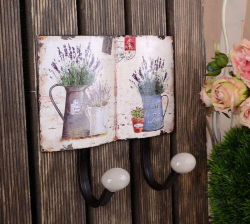 Vintage Hakenleiste Handtuchhalter Handtuchhaken Lavendel Wandhaken doppelt neu