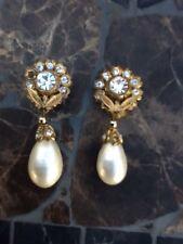 Auth Vintage CHANEL Gripoix Crystal Flower Large Pearl Drop Earrings