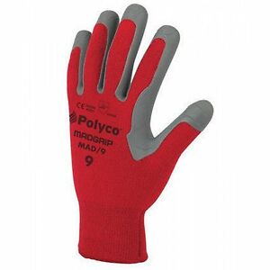 Polyco-Madgrip-MAD-09-RED-amp-GREY-gloves-rubber-palm-protection-SIZE-9-X-3-PAIR