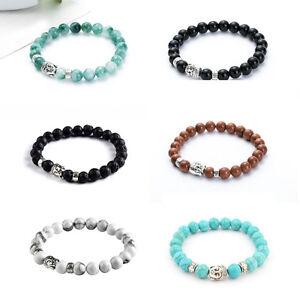 Fashion-Men-Women-Handmade-Lava-Rock-Bracelet-Gemstone-Beads-Buddha-Head-Beaded