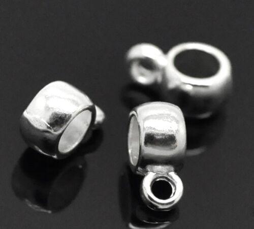 KUS 100 Versilbert Stopper Clip  Perlen Beads 9x4mm