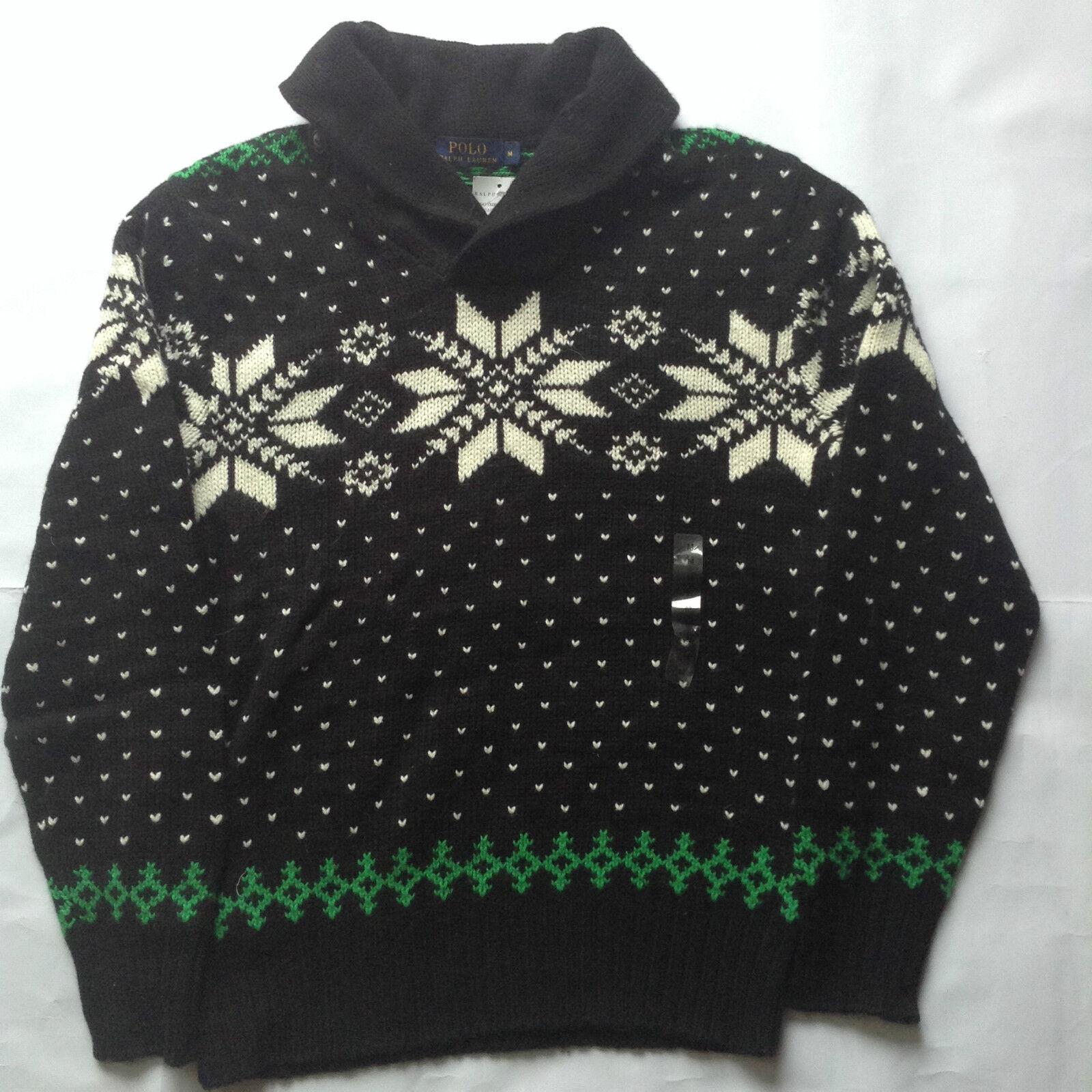 Ralph Lauren Christmas Jumper Mens Fairisle Cotton Angora Designer XS M L
