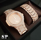Men Hip Hop Iced Out Lab Diamond Luxury Rose Gold PT WATCH & BRACELET Gift Set